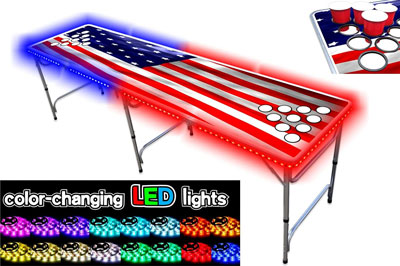 2. PartyPongTables Foldable Beer Pong Tables with LED