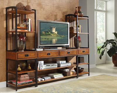 5. Modern Craftsman Entertainment Center with Drawers