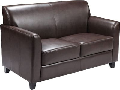9. Flash Furniture Leather Loveseat with Supportive Back