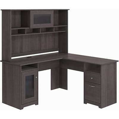 Bush Furniture Cabot L-Shaped Desk with Hutch