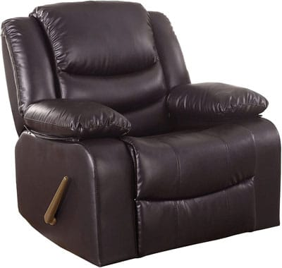 4. Divano Roma Furniture Hardwood and Leather Recliner