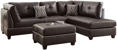 7. Poundex Faux Leather Sectional Chaise with Ottoman