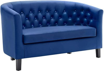 5. Modway Leather Loveseat with Wooden Legs