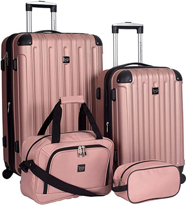 7. Travelers Club Luggage Set with Polyester Lining