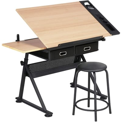 YAHEETECH Drafting Table and Stool Set