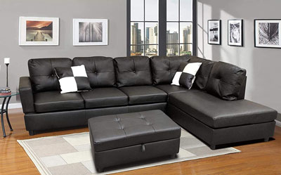 8. FlashBuy Leather L-shaped Couch with Chaise