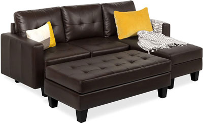 3. Best Choice Products Soft Leather Sofa