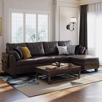 1. HONBAY Faux Leather L-shaped Couch