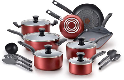 5. T-fal 18 Piece Dishwasher Safe Cookware Set