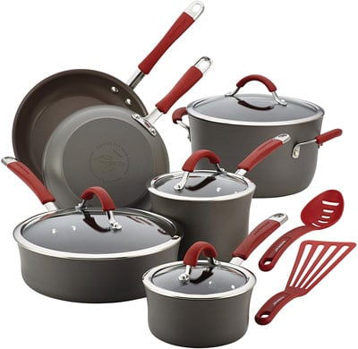 1. Rachael Ray Cucina Hard Anodized Nonstick Cookware Set