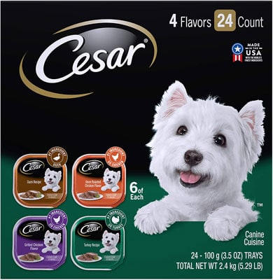 2. Cesar Gourmet Wet Dog Food Variety Packs – 24 Trays