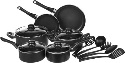 2. AmazonBasics 15-Piece Non-Stick Cookware Set