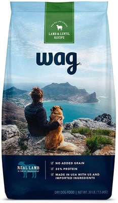 7. Amazon Brand – Wag Dry Dog Food, 35% Protein