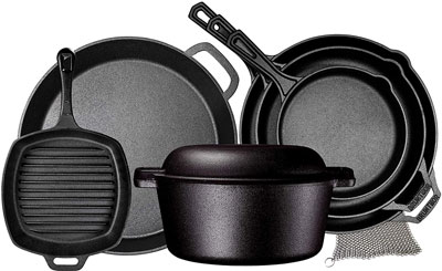 9. Bruntmor Pre Seasoned Cast Iron 8 Piece Cookware Set