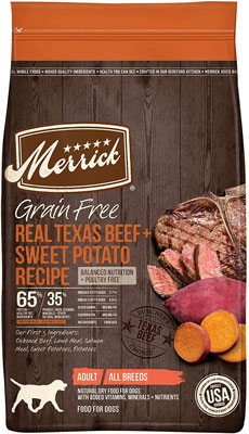 3. Merrick Grain Free Dry Dog Food (Real Meat + Sweet Potato)
