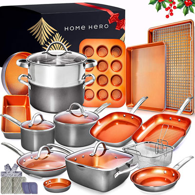 8. Home Hero 23pc Copper Cookware Set