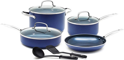10. Blue Diamond 9 Piece Cookware Pan Set