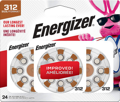 8. Energizer Hearing Aid Batteries Size 312 (24 Battery Count)