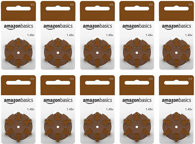 9. AmazonBasics Pack of 60 Hearing Aid Batteries