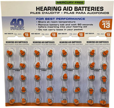 10. America Hears Size 13 40 Pack Hearing Aid/Amplifier Batteries